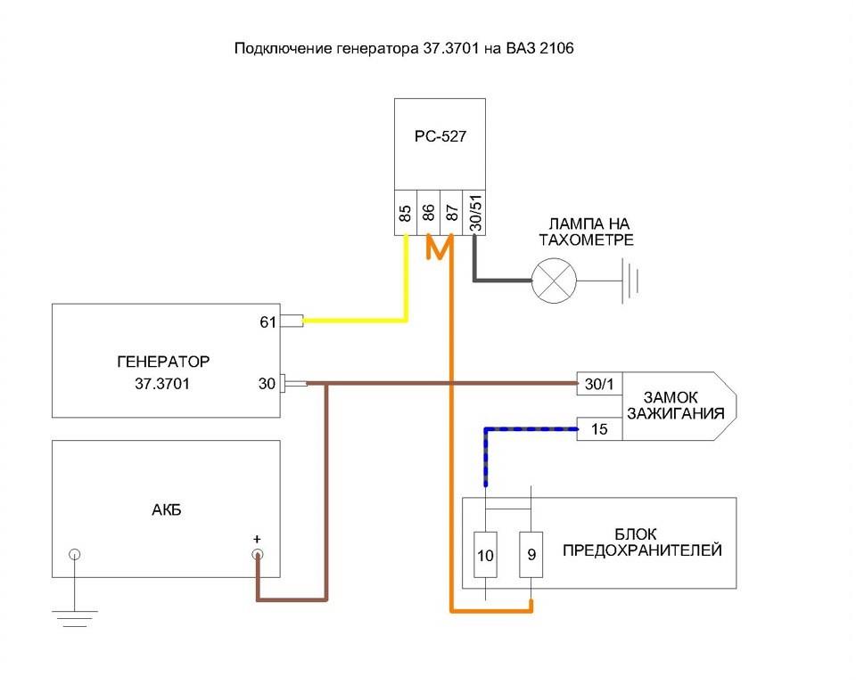 Схема подключения генератора ваз 2106